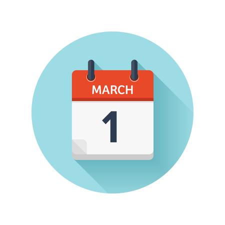 3 月 1 日。カレンダーのアイコンをベクトル フラット毎日。日付と時刻、日、月 2018。休日。シーズン。