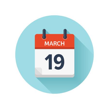 3 月 19 日。カレンダーのアイコンをベクトル フラット毎日。日付と時刻、日、月 2018。休日。シーズン。