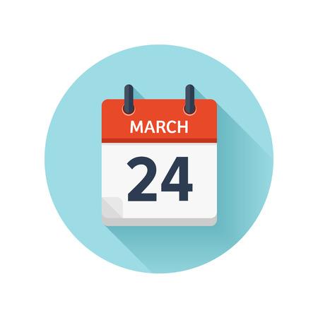 3 月 24 日。カレンダーのアイコンをベクトル フラット毎日。日付と時刻、日、月 2018。休日。シーズン。