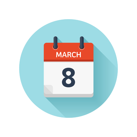 scheduler: March 8. Vector flat daily calendar icon. Date and time, day, month 2018. Holiday. Season.