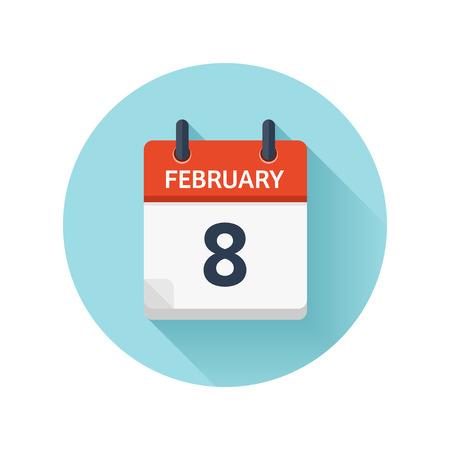 2 月 8 日。カレンダーのアイコンをベクトル フラット毎日。日付と時刻、日、月 2018。休日。シーズン。  イラスト・ベクター素材