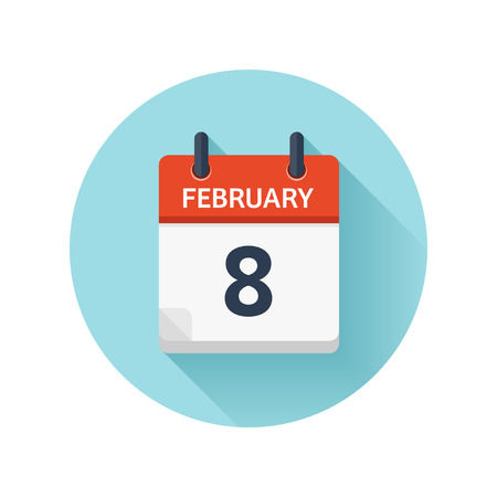 February 8. Vector flat daily calendar icon. Date and time, day, month 2018. Holiday. Season.