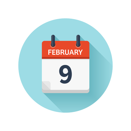 February 9. Vector flat daily calendar icon. Date and time, day, month 2018. Holiday. Season.