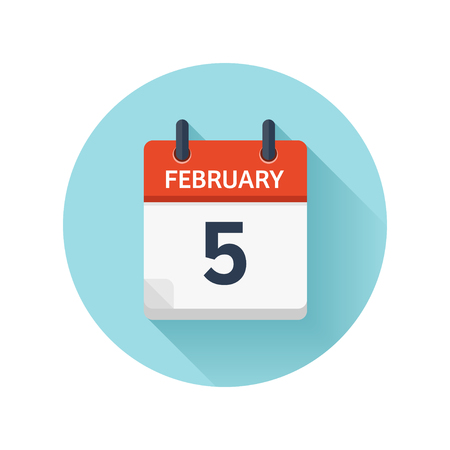 February 5. Vector flat daily calendar icon. Date and time, day, month 2018. Holiday. Season. Ilustração