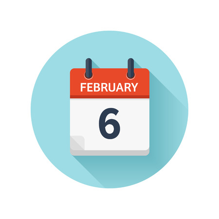 February 6. Vector flat daily calendar icon. Date and time, day, month 2018. Holiday. Season.