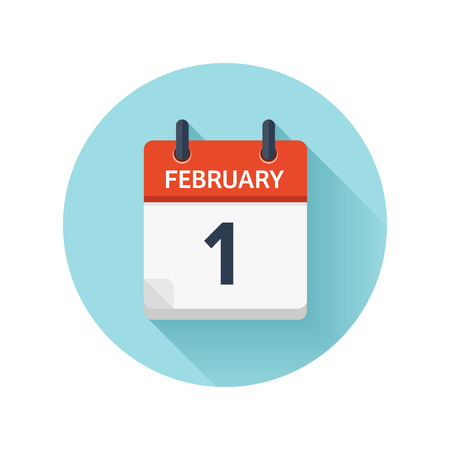 February 1. Vector flat daily calendar icon. Date and time, day, month 2018. Holiday. Season.