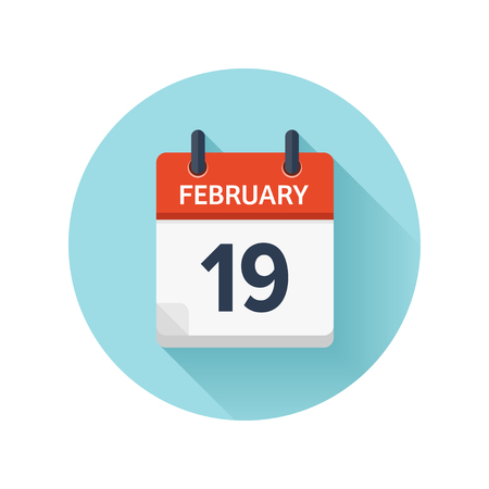 scheduler: February 19. Vector flat daily calendar icon. Date and time, day, month 2018. Holiday. Season.