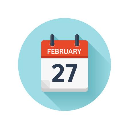 2 月 27 日。カレンダーのアイコンをベクトル フラット毎日。日付と時刻、日、月 2018。休日。シーズン。