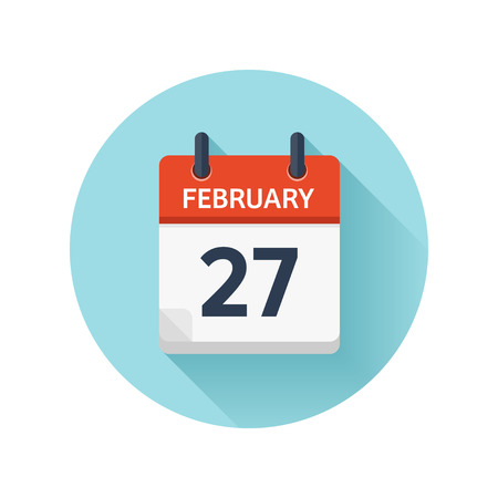 February 27. Vector flat daily calendar icon. Date and time, day, month 2018. Holiday. Season.