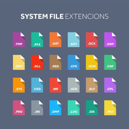 Flat style icon set. Source code, programming file type, extension. Document format. Pictogram. Web and multimedia. Computer technology.