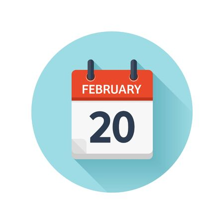 February 20. Vector flat daily calendar icon. Date and time, day, month 2018. Holiday. Season.