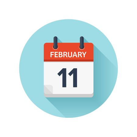 February 11. Vector flat daily calendar icon. Date and time, day, month 2018. Holiday. Season. Stock Photo