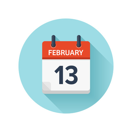 scheduler: February 13. Vector flat daily calendar icon. Date and time, day, month 2018. Holiday. Season.