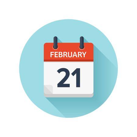 2 月 21 日。カレンダーのアイコンをベクトル フラット毎日。日付と時刻、日、月 2018。休日。シーズン。