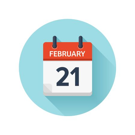February 21. Vector flat daily calendar icon. Date and time, day, month 2018. Holiday. Season.