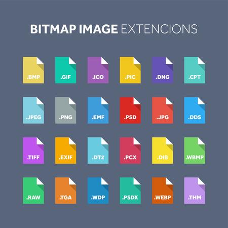 Conjunto de iconos de estilo plano. Código fuente, tipo de archivo de programación, extensión. Formato de documento. Pictograma Web y multimedia. Tecnologia computacional. Foto de archivo - 86809165