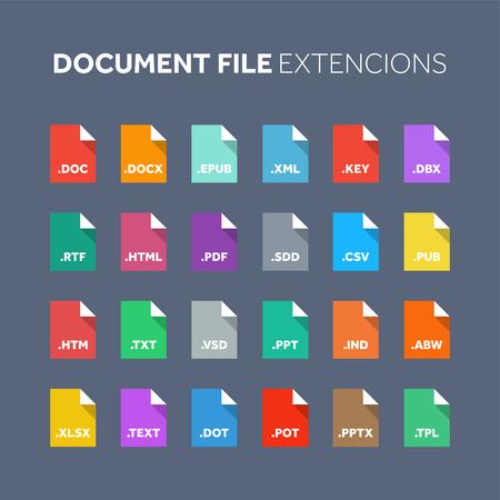 플랫 스타일 아이콘 집합입니다. 소스 코드, 프로그래밍 파일 유형, 확장자. 문서 형식. 그림. 웹 및 멀티미디어. 컴퓨터 기술.