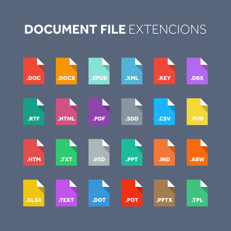 Vlakke stijl icon set. Broncode, programmeerbestandstype, extensie. Document formaat. Pictogram. Web en multimedia. Computer technologie.