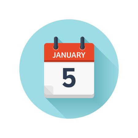1 月 5 日。カレンダーのアイコンをベクトル フラット毎日。日付と時刻、日、月 2018。休日。シーズン。  イラスト・ベクター素材