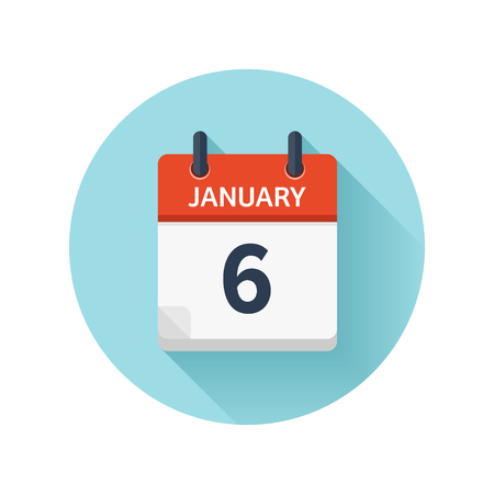 January 6. Vector flat daily calendar icon. Date and time, day, month 2018. Holiday. Season.