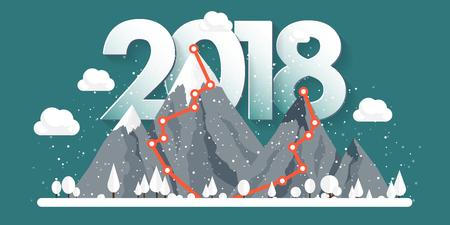 冬、雪で 2018年ピークの山。自然風景。クリスマス旅行。ハイキングやキャンプします。フラット スタイル。  イラスト・ベクター素材