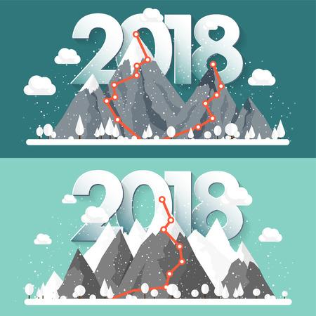 Montagne in inverno, 2018 Picco con neve. Paesaggio naturale Viaggio di Natale. Escursionismo e campeggio. Stile piatto Archivio Fotografico - 86908017
