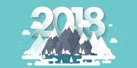 겨울에는 산, 2018 피크와 눈. 자연 풍경입니다. 크리스마스 여행. 하이킹과 캠핑. 플랫 스타일. 일러스트