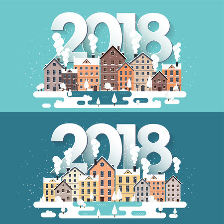Vector illustration. 2018 winter urban landscape. City with snow. Christmas and new year. Cityscape. Buildings.