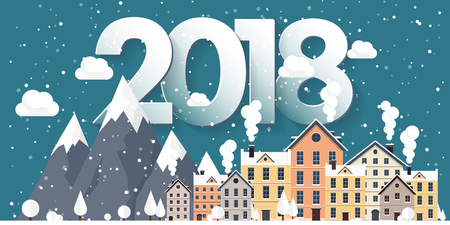 Vector illustration. 2018 winter urban landscape. City with snow. Christmas and new year. Cityscape. Buildings.Mountaines, nature.