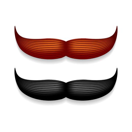 口ひげは、白で隔離。黒いベクター ヴィンテージ ヒゲ。顔の毛。理髪店。レトロなコレクションです。流行に敏感なひげ。  イラスト・ベクター素材