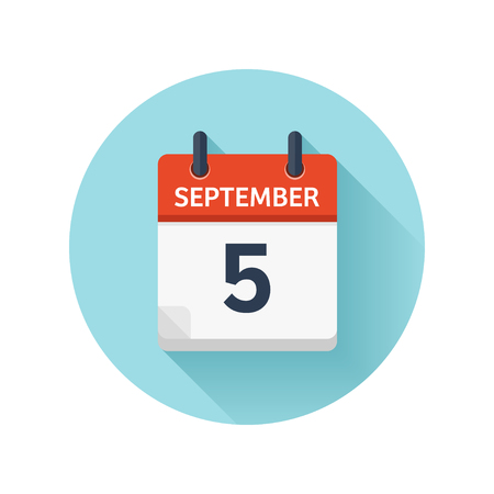 September 5. Vector flat daily calendar icon. Date and time, day, month 2018. Holiday. Season. Ilustração