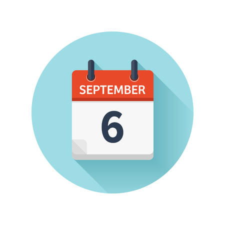 September 6. Vector flat daily calendar icon. Date and time, day, month 2018. Holiday. Season.