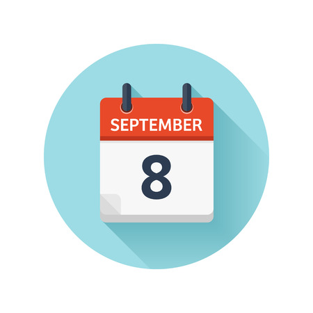 September 8. Vector flat daily calendar icon. Date and time, day, month 2018. Holiday. Season. Illustration
