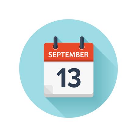 13 september. Vector plat dagelijks kalenderpictogram. Datum en tijd, dag, maand 2018. Feestdagen. Seizoen. Stock Illustratie