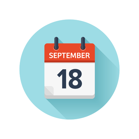 September 18. Vector flat daily calendar icon. Date and time, day, month 2018. Holiday. Season.