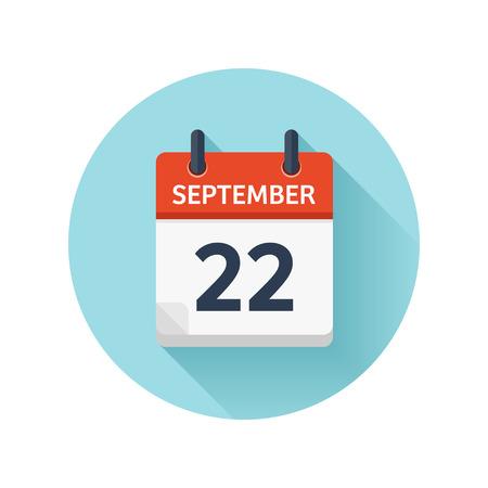 22 september. Vector plat dagelijks kalenderpictogram. Datum en tijd, dag, maand 2018. Feestdagen. Seizoen.