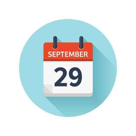 September 29. Vector flat daily calendar icon. Date and time, day, month 2018. Holiday. Season. Imagens