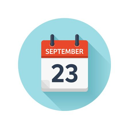 September 23. Vector flat daily calendar icon. Date and time, day, month 2018. Holiday. Season.
