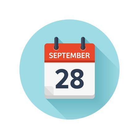 9 月 28 日。カレンダーのアイコンをベクトル フラット毎日。日付と時刻、日、月 2018。休日。シーズン。