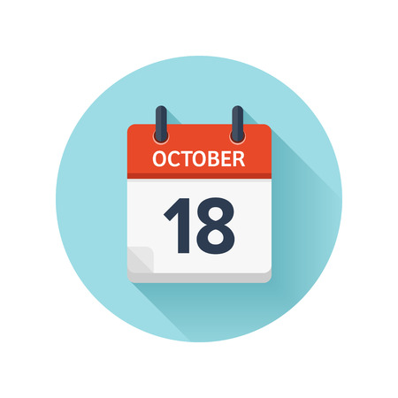 scheduler: October 18. Vector flat daily calendar icon. Date and time, day, month 2018. Holiday. Season.