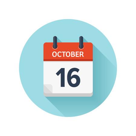 10 月 16 日。カレンダーのアイコンをベクトル フラット毎日。日付と時刻、日、月 2018。休日。シーズン。 写真素材