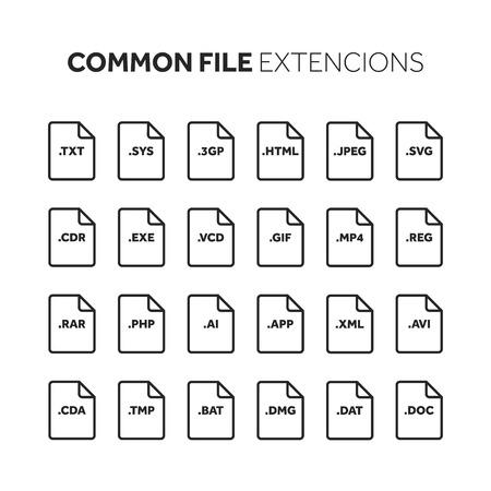 Code source, type de fichier de programmation, jeu d'icônes d'extension. Banque d'images - 86917811