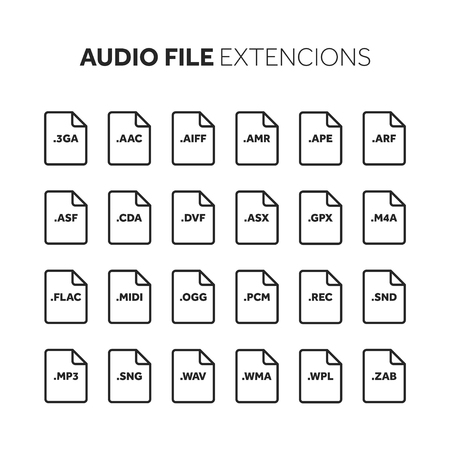 Music and multimedia file extension icon set.