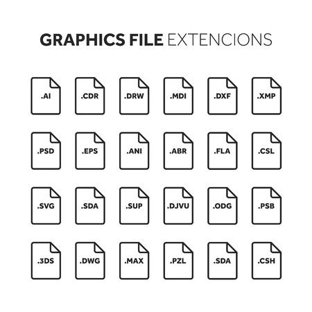 線、アウトライン フラット スタイル アイコン セット。ソース コードは、ファイルの種類、拡張子をプログラミングします。ドキュメントの形式。