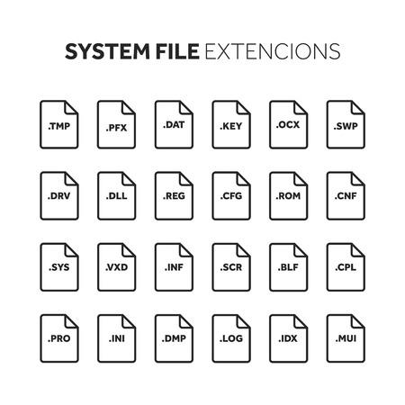 Línea, esquema conjunto de iconos de estilo plano. Código fuente, tipo de archivo de programación, extensión. Formato de documento. Pictograma Web y multimedia. Tecnologia computacional. Foto de archivo - 86917819