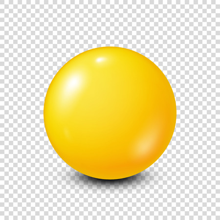 six objects: Yellow lottery, billiard,pool ball. Snooker. Transparent background. Vector illustration.