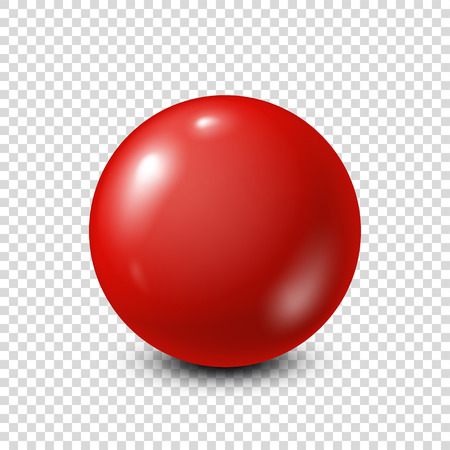 Red lottery, billiard,pool ball. Snooker. Transparent background. Vector illustration.