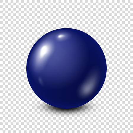 Dark blue lottery, billiard,pool ball. Snooker. Transparent background. Vector illustration.