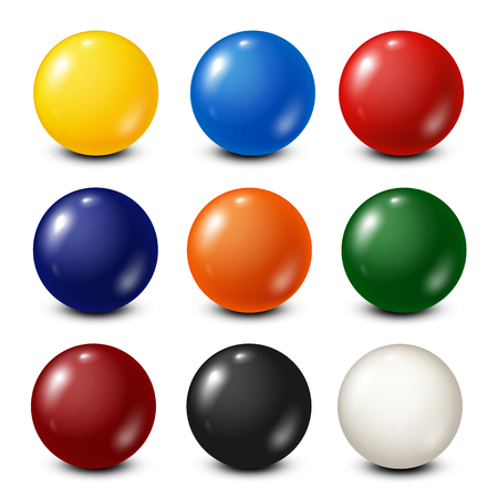 fifteen: Lottery, billiard,pool balls collection. Snooker. White background. Vector illustration.