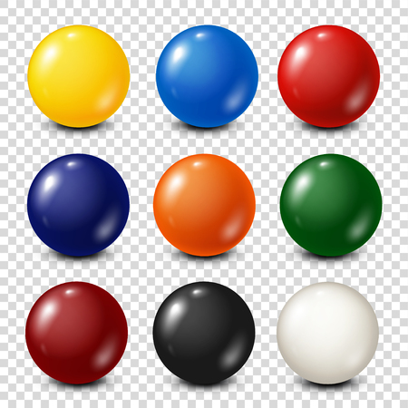 six objects: Lottery, billiard,pool balls collection. Snooker. Transparent background. Vector illustration.